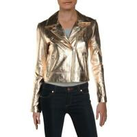 Aqua Womens Gold Metallic Leather Coat Motorcycle Jacket Outerwear XS BHFO 0311