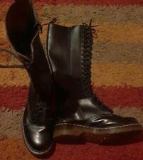BLACK DR MARTENS KNEE HIGH CALF LEG CALF BOOTS PATENT LEATHER UK SIZE 4 37 US 6
