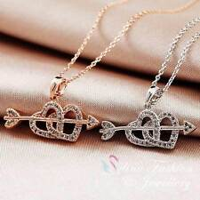 18K White & Rose Gold Plated Eternal Romance Arrow Through The Heart Necklace
