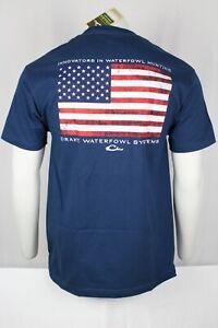 Drake Waterfowl Men's Americana Drake American Flag Shield T-Shirt Harbor Blue