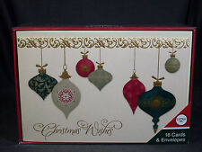 New Set of 16 Christmas Ornament Motif Christmas Cards and Envelopes