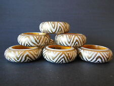 Wooden Gold White Napkin Rings Set of Six (6) Simplex