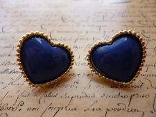 Vintage Gold Royal Blue Heart Love Valentines Costume Jewellery Stud Earrings