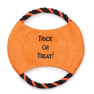 Zanies Trick or Treat Rope Flyer Dog Toy Nylon ORANGE/BLACK Halloween Fetch 10""