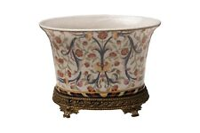 Beautiful Oval Floral Chinoiserie Porcelain Flower Pot Ormolu Base 7.5""