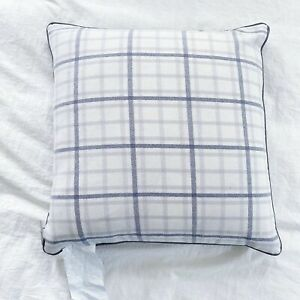"New Ralph Lauren Decorative Plaid Checked Square Pillow Gray 20 x 20"""