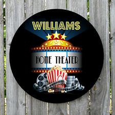PERSONALIZED ROUND HOME THEATER METAL SIGN MONOGRAMMED