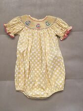 Classic Girls Dress Romper Size 24 Month Yellow White Smooched Embroidered Eggs