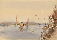 Conrad H.R. Carelli, Karachi Harbour Pakistan from SS Imperator 1907 watercolour
