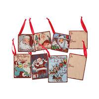 Set/8 Primitives By Kathy Retro Vntg Santa Gift Tag Christmas Festive Home Decor