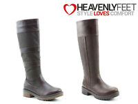 Ladies Tall Boots Comfy Zip Winter Warm Brown Heavenly Feet 'Burley' Sizes 3-8
