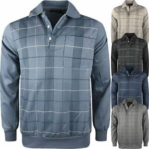 Mens Long Sleeve Plain Polo Button Collared Check Print Collared Sweatshirt Top