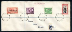 Western Samoa - 1946 Peace Issue Registered Last Day of Issue Cover