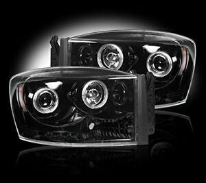 Recon 06-08 Ram 1500 06-09 2500/3500 Projector Headlights Smoked / Black