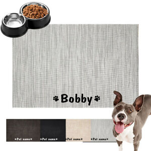 Custom Dog Food Mat Bowl Feeding Dish Mat Personalized Pet Name Paw Print Gift