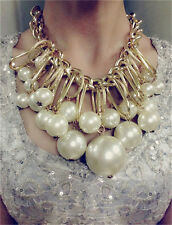 Hot Fashion Gorgeous Gold Plated Circle Big Pearl Chunky Statement Bib Necklace