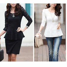 Lace Long Sleeve Peplum Tops for Women