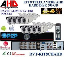 KIT 8 TELECAMERE AHD CON DVR 8 CANALI + HD 500 GB PROFESSIONALE TOP QUALITY