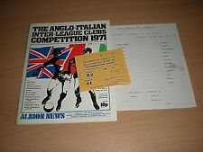 The Match Ticket & Programme For W.B.A. V Cagliari On Saturday 29th May 1971