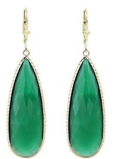 14K Yellow Gold Gemstone Earrings With a Long Pear Shaped Green Onyx