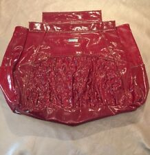 MICHE Prima Shell Adrianna Shiny Glossy Deep Dark Red Ruffled Faux Leather