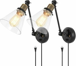 TRLIFE Dimmable Wall Sconces with Clear Glass Lampshade, Plug in Wall Sconces Se