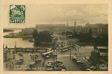Real Photo Postcard Gustaf Adolfs torg och Kungliga Slottet, Stockholm, Sweden