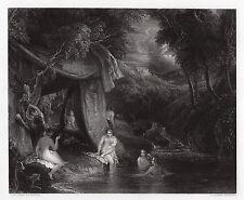 "Stunning 1800s Thomas STOTHARD Engraving ""Mysterious Bathers"" SIGNED Framed COA"