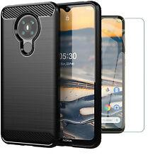 For Nokia 5.3 Case Carbon Fibre Cover & Glass Screen Protector