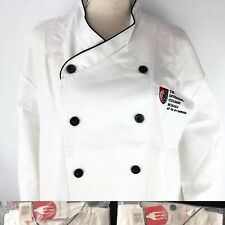New Chef Works International Culinary School 2 Pcs Embroidered Black Trim Size M