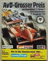 GERMAN GRAND PRIX FORMULA ONE F1 1983 HOCKENHEIM Official Programme