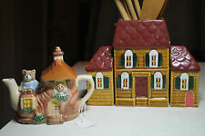 figural house salt pepper shakers wooden kitchen utensils cottage  bear teapot