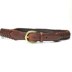Men's Brown Braided Leather Jeans Belt Size 36 Brass Gold Buckle