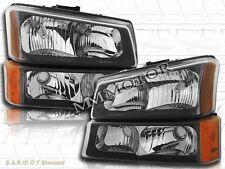 03 04 05 06 Chevrolet Silverado 1500 2500 3500 /Avalanche Headlights Black