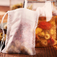 100Pcs Muslin Cotton Drawstring Reusable Spices Herbs Food Filter Bags 8X10cm