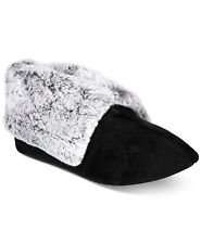 Charter Club Plush Faux-Fur Booties Slippers Black