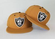 New Era Nubuck Wheat Oakland Raiders Shield Brown Logo 9Fifty Snapback Hat