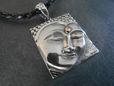 Balinese 925 Sterling Silver Handcrafted Buddha face pendant with braided cord