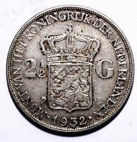 1932 Netherlands Two & Half 2½ Gulden - Wilhelmina - Lot 791