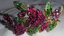 HAPACHICO LUPITA Headband Pink Red Roses Flowers Gold Metal Rhinestones Green