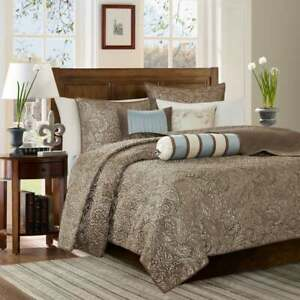 Madison Park Cal King Aubrey Jacquard Paisley Taupe Lightweight Bedspread