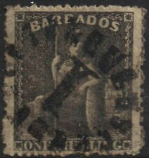 Barbados 1866 1s One Shilling sg 35 Black Britannia used