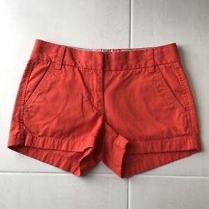 J. Crew Chino Broke In Women Sz 00 Shorts Orange Cotton Pockets Low Rise