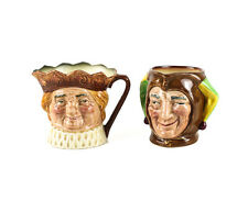 """2pc Royal Doulton Small Toby Jugs Jester D5556, Old King Cole, 3 1/4"""" A Mark"""