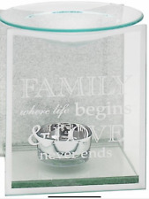 Oil burner Silver glass glitter mirror family love wax melt candle gift present