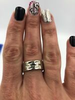 Stunning Unique Vintage 925 Sterling Silver Band  Ring