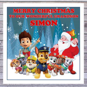 KIDS PAW PATROL CHRISTMAS CARDS - personalised with any RELATIONSHIP & NAME