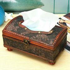 Holz Kosmetiktücherbox Taschentuchspender Tissuebox Kosmetiktuch Spender Retro Y