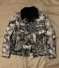 BALMAIN Jacket Faux Shearling-lined Acid-washed Denim Jacket  $2587 Size L Black