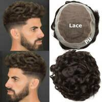 Mens Toupee Hairpiece Full SWISS LACE Wig Human Hair Replacement System US Soft